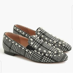 J. Crew Glen Plaid Pearl Studded Loafers Flats